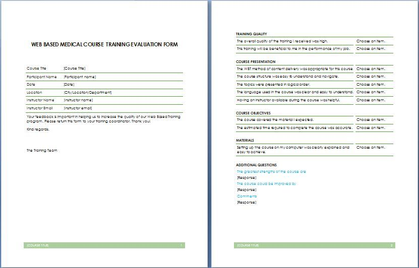 a vital piece of any training should be evaluating the – Training Feedback Template