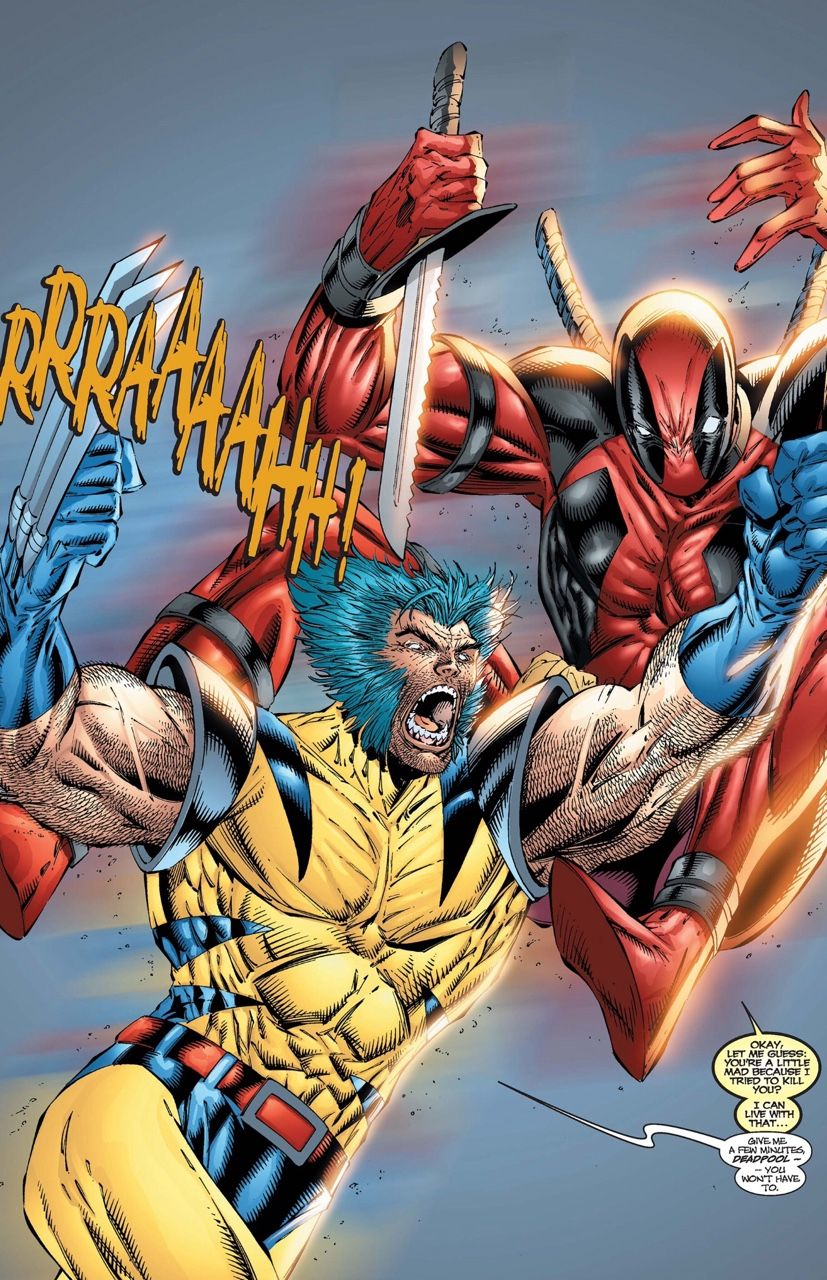Wolverine Vs Deadpool In Wolverine 155 Rob Liefeld Inks Norm Rapmund Colors Digital Broome Wolverine Marvel Marvel Coloring Deadpool Wolverine
