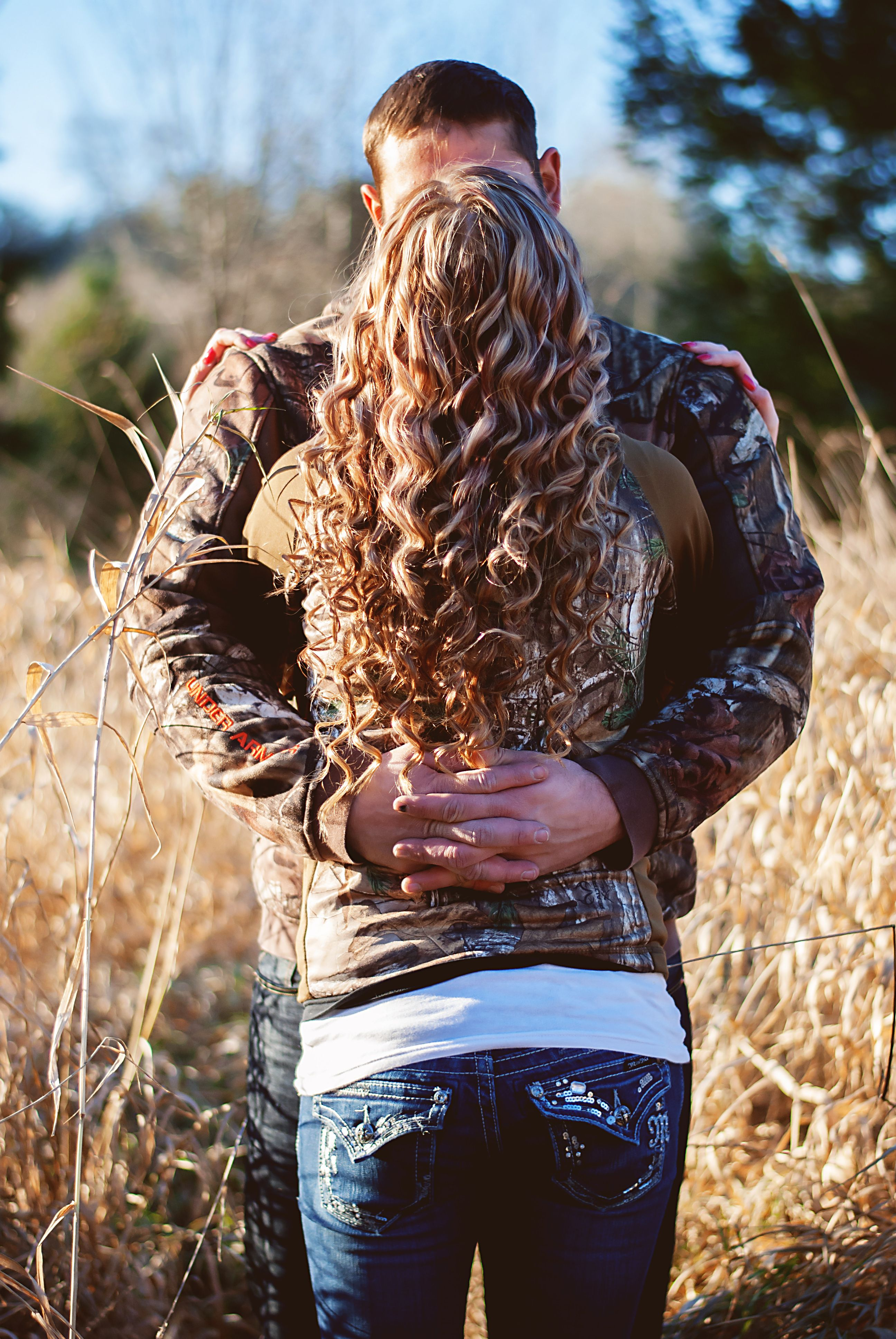 Country couple engagement/save the date photos. Camo ...
