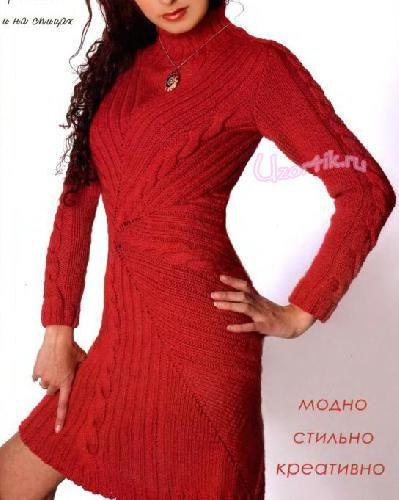 Эффектное красное платье спицами - Описание вязания, схемы вязания крючком и спицами   Узорчик.ру