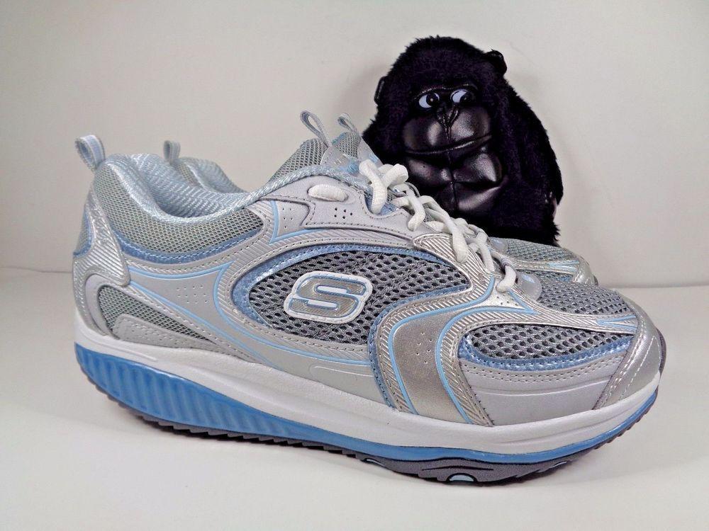 Womens Skechers Shape Ups Blue silvr Running Cross Training Shoes Size 8.5 12320