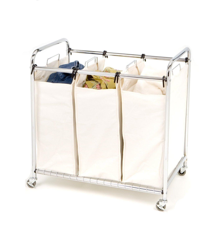 Amazon Com Seville Classics Heavy Duty 3 Bag Laundry Sorter Cart
