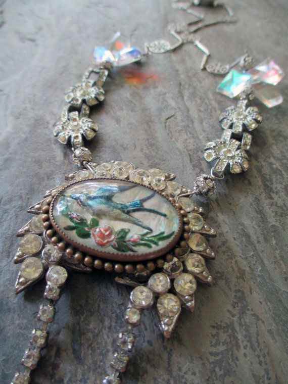 FLIGHT of FANCY  vintage assemblage necklace by TheFrenchCircus,