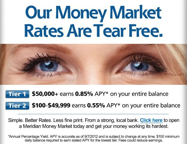 Print advertising campaign for Meridian Bank (special promotion for money market funds).