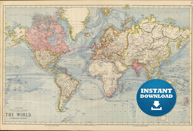 Digital Pastel Colors World Map Printable Download Vintage World Map Light Blue Oceans World Map Poste In 2020 World Map Printable Color World Map World Map Poster