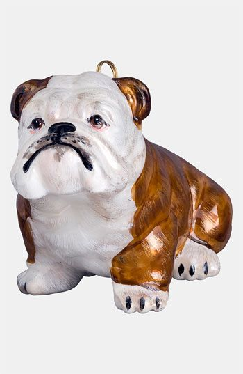 Joy To The World Collectibles Brown Bulldog Ornament White