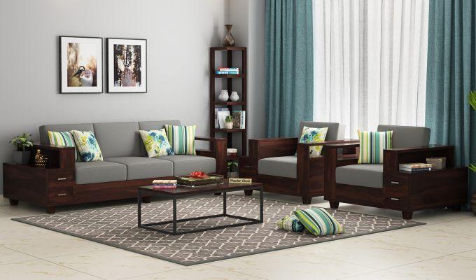 Buy Lannister Wooden Sofa 3 1 1 Set Online In India In 2020 Wooden Sofa Designs Sofa Set Online Wooden Sofa Set