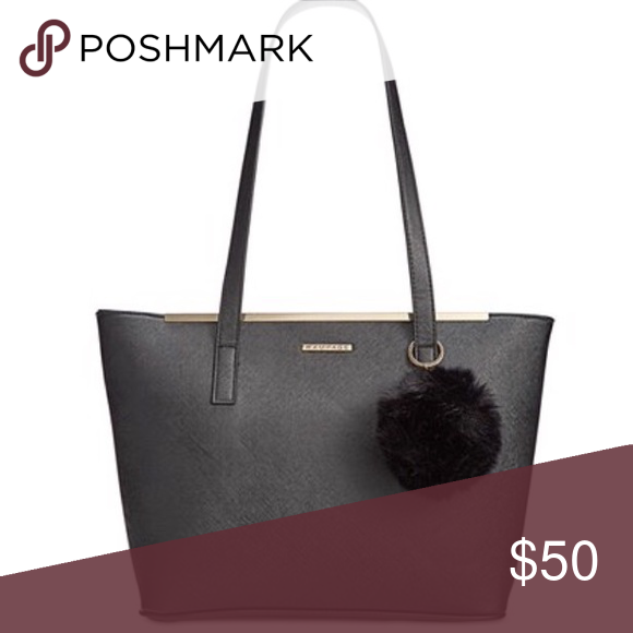 68167f5c56 Black Rampage bag with Pom Pom faux-leather tote✨ your new daytime  go-to-with a fluffy faux-fur pom-pom. Rampage Bags Shoulder Bags