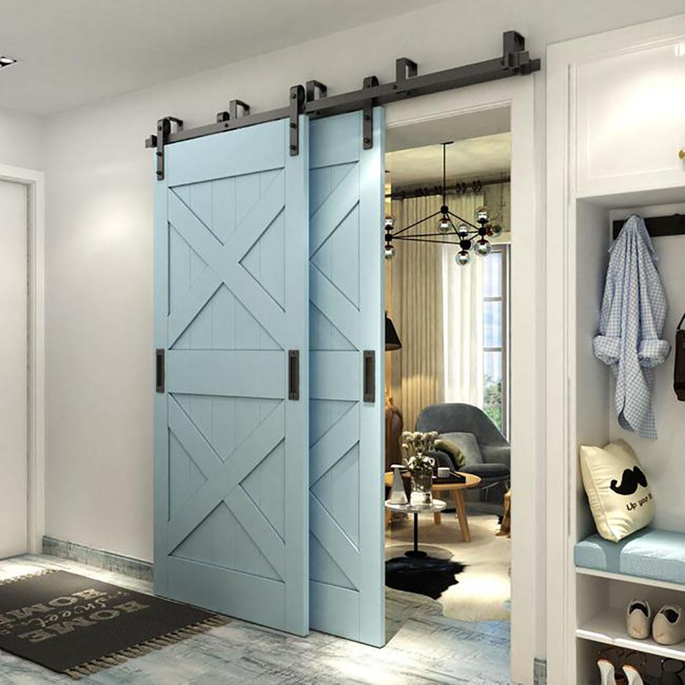 Winsoon 6 Ft 72 In Powder Coated Black Heavy Duty Bypass Double Door Sliding Barn Door H In 2020 Bypass Barn Door Hardware Double Sliding Barn Doors Bypass Barn Door