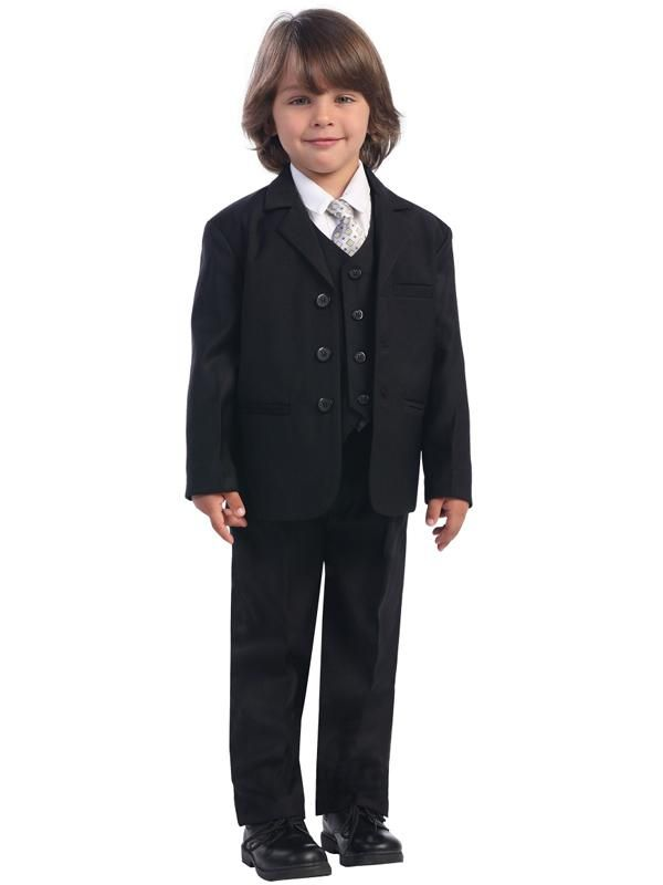 NEW BOYS BLACK SINGLE 2BUTTON SUITS with Vest neck tie and shirt FULL SET