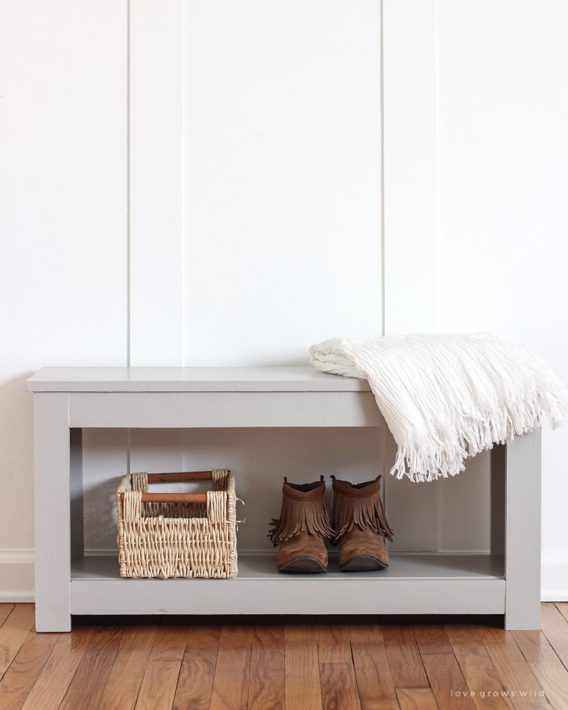 Diy Entryway Bench With Storage Tutorial How To Make A Simple