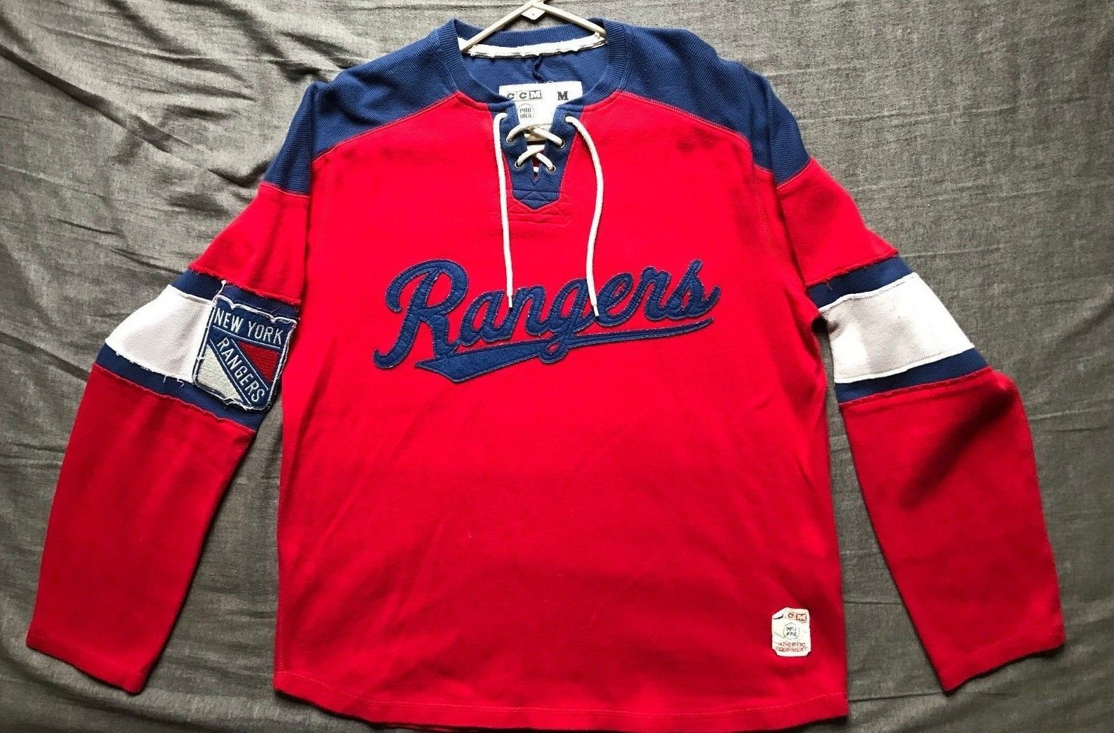 san francisco 735a4 1711f Details about Men's CCM NHL New York Rangers Sewn Shield ...