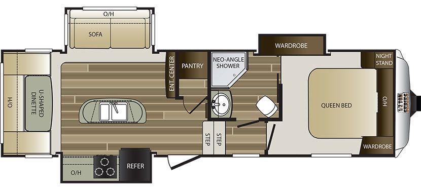 Floorplan image of Keystone Cougar Half-Ton model 281RDIWE - NEW.