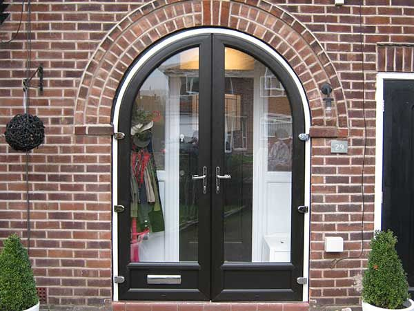Black Upvc Arched Double Doors Glass Porch Arched Doors House With Porch