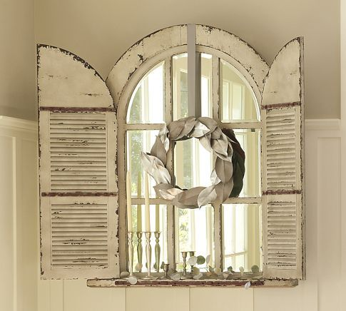 Arched Door Mirror Wood Wall