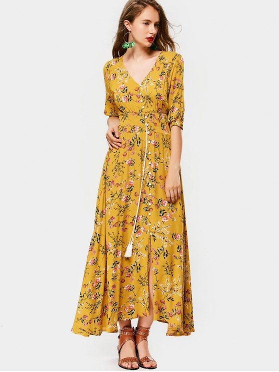 25607eb080 Belted Slit Button Up Floral Maxi Dress ekkor: 2019 | dress ...