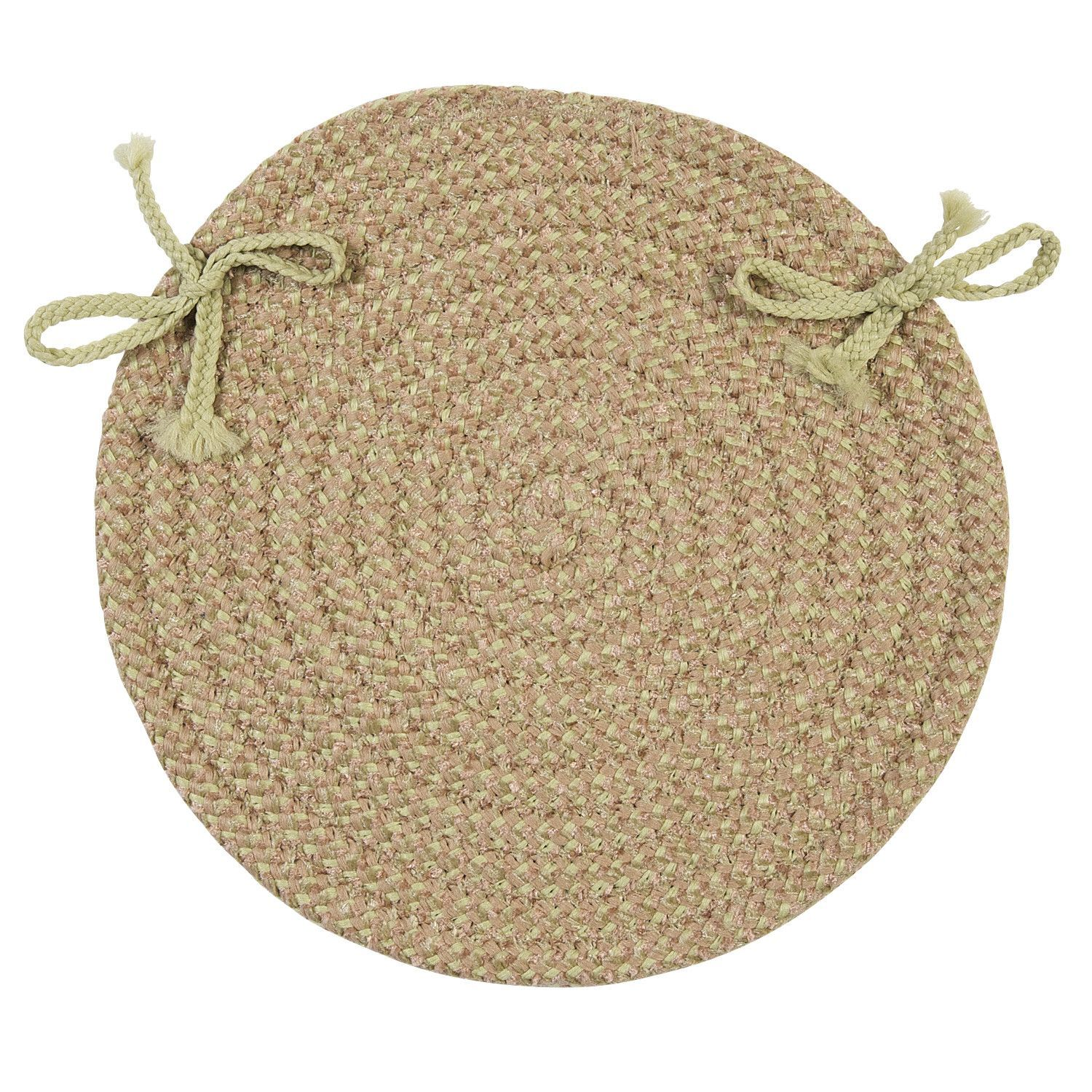 Awesome Softex Check Indoor Outdoor Round Braided Chair Pad, Celery Green U0026 Tan