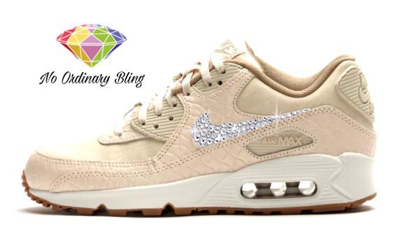 ... Bling Nike Air Max 90 Womens OatmealSailBlk Swoosh - NoOrdinaryBling  buying new 35cb2 a7c5c ... 79b8bb798