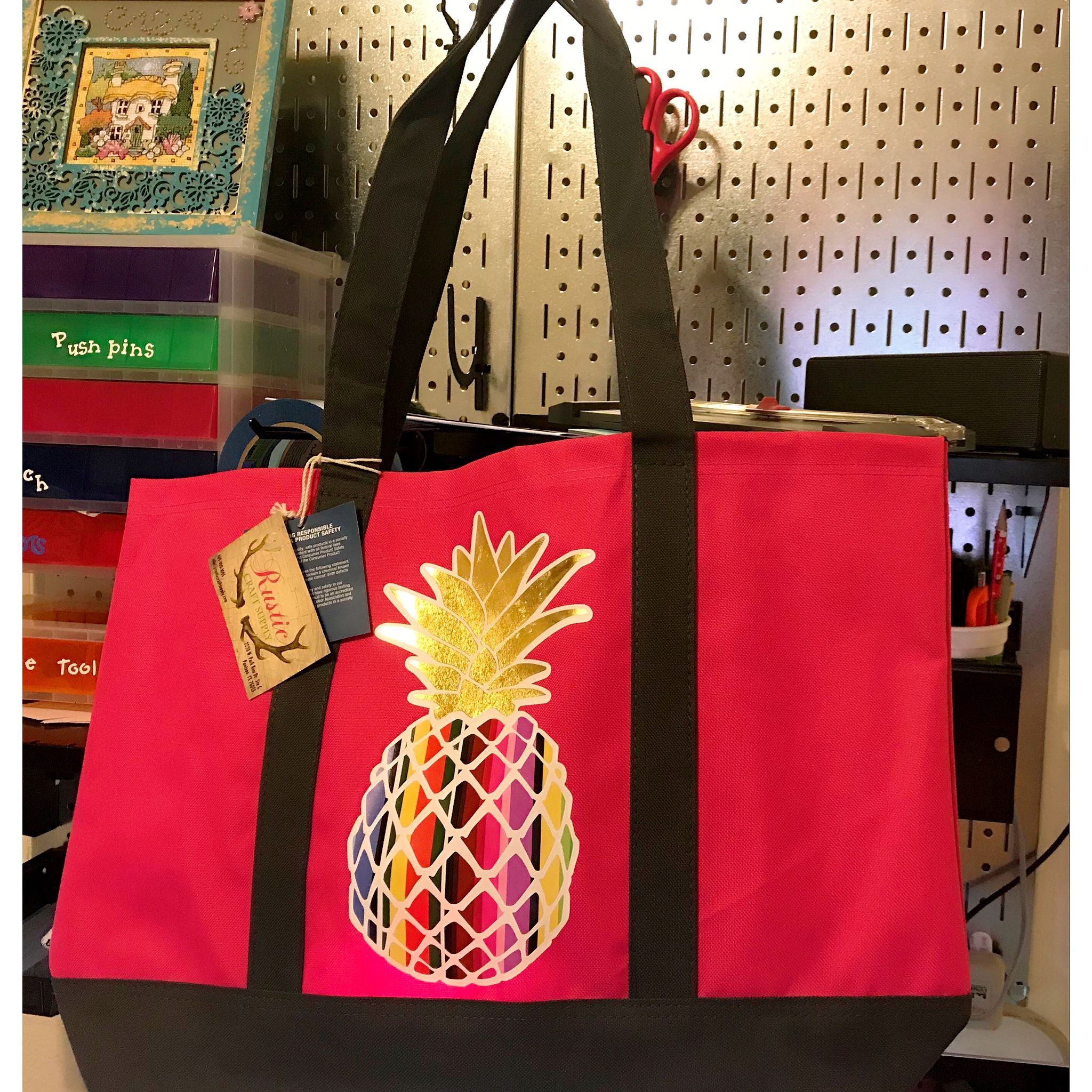 664fcf221e Made a Printed Heat transfer Vinyl Tote bag on my Silhouette Cameo.   pineapple  htv  tote bag  silhouette