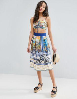 ASOS Co-ord Midi Skirt with Postcard Print