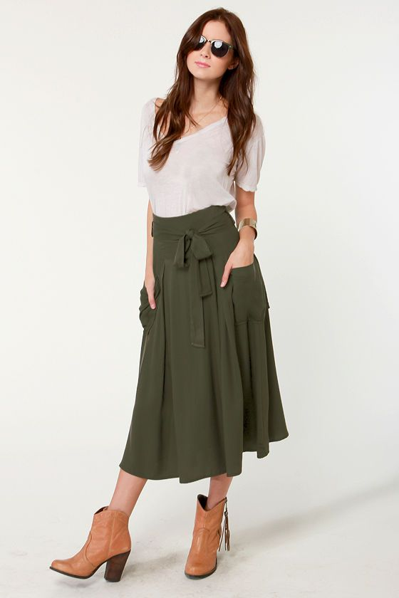 Sweetbriar Olive Green Midi Skirt | Green skirts, Green and Olives