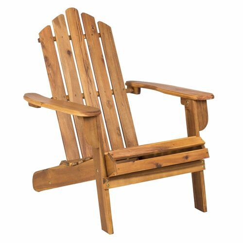 Hanlee Outdoor Rustic Acacia Wood Folding Adirondack Chair By