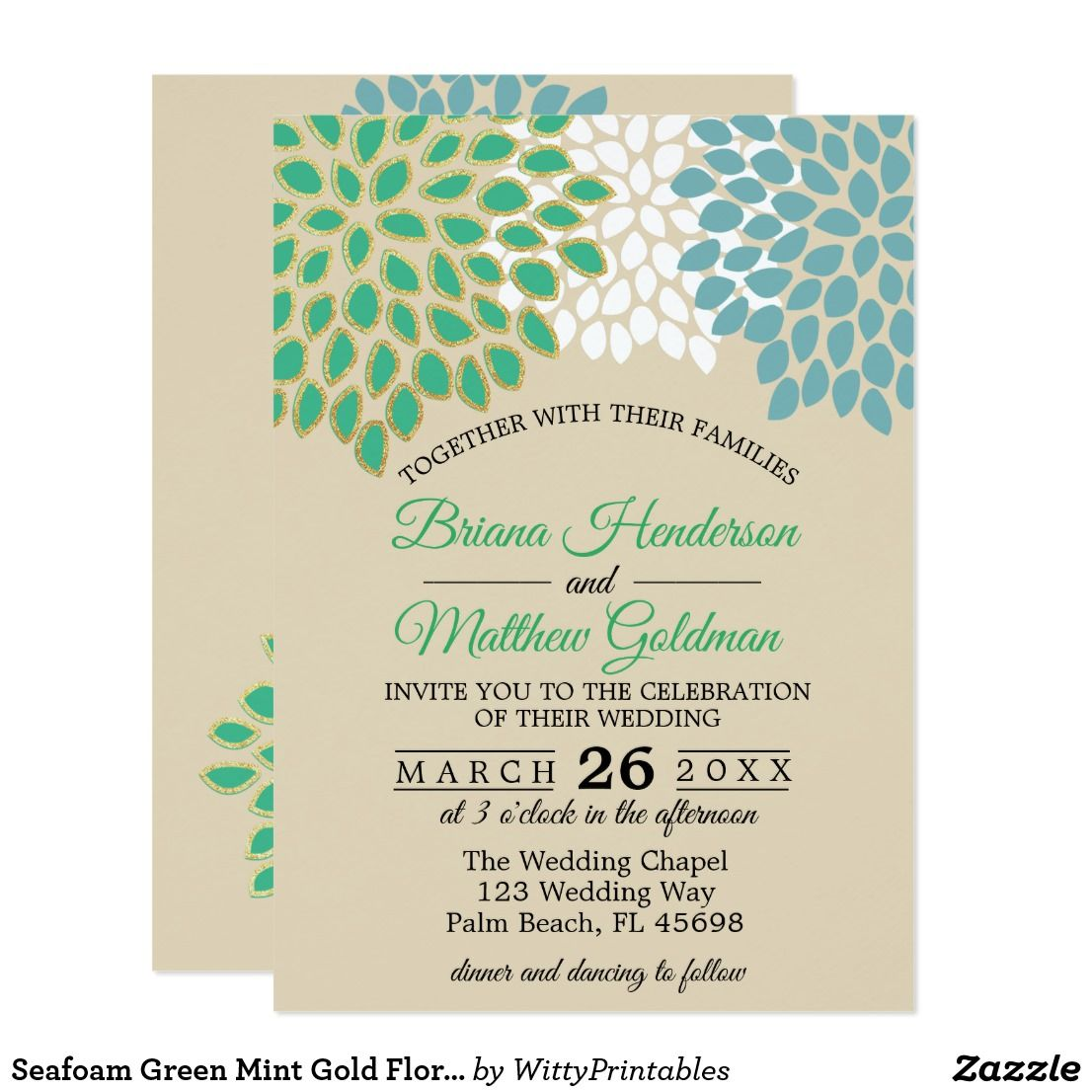 Seafoam Green Wedding Ideas: Seafoam Green Mint Gold Floral Wedding Invitation
