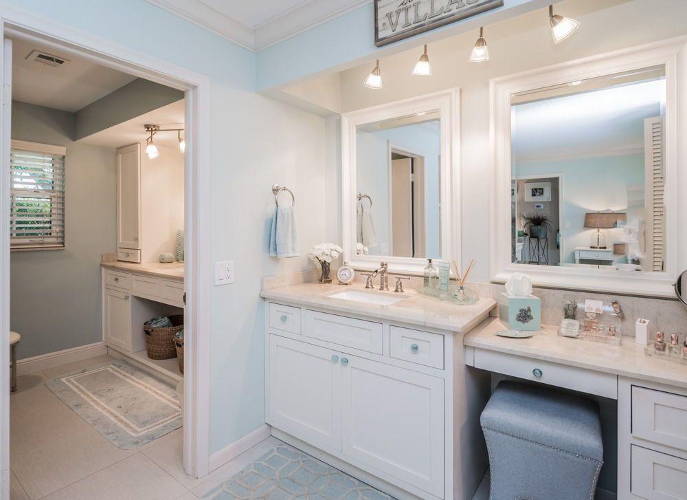 The Masterbathroom Has Marble Countertops Spacious White Cabinets - Bathroom vanities palm beach county