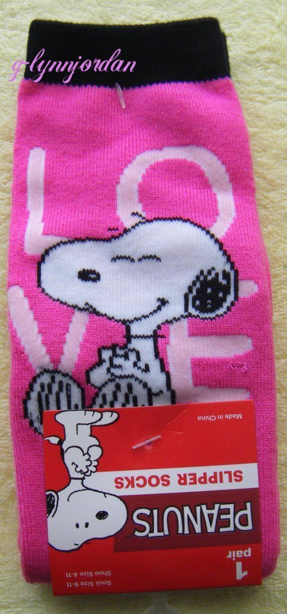 dbca7a8752 Peanuts Snoopy Valentine S Day Pink Cozy Slipper Socks Brand Shoe Sz 4-11