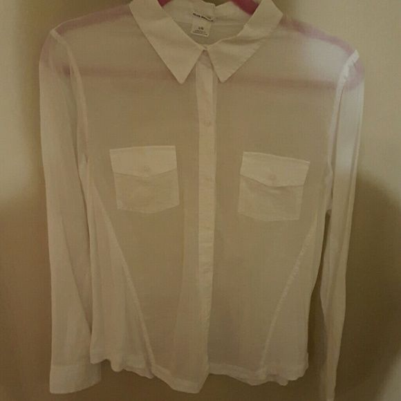 White shirt Club Monaco Very chic see through white shirt. Love the simplicity but elegance of this piece. Dress it up or down with jeans. NEW! Club Monaco Tops Blouses