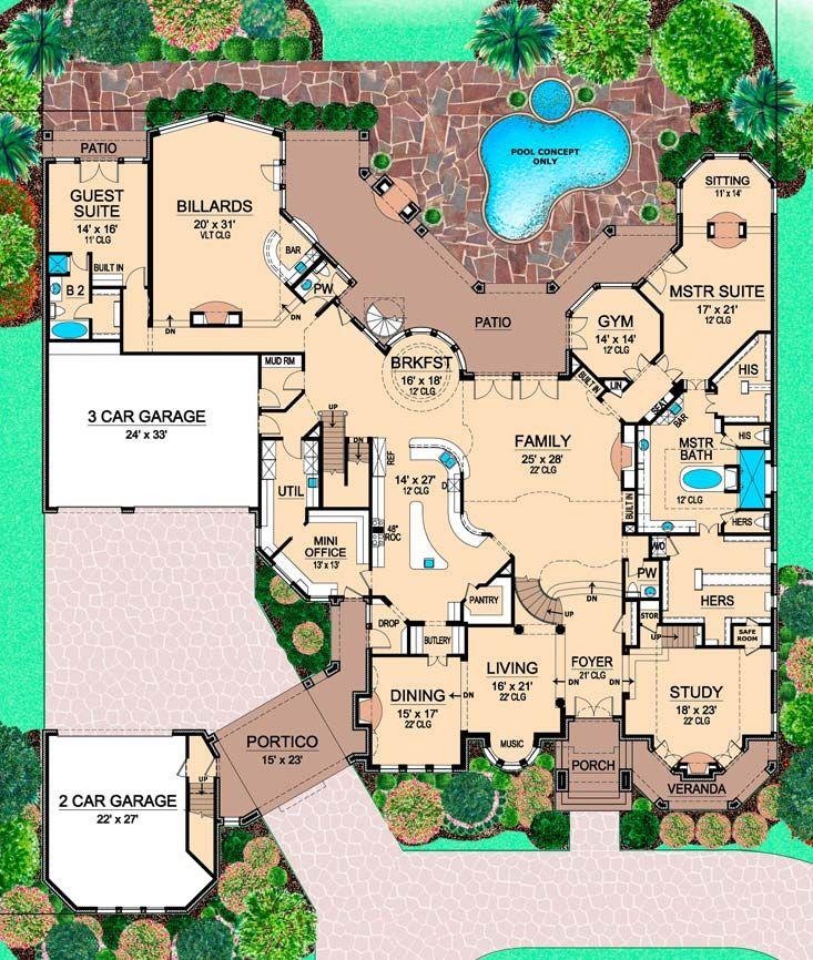 House Plan 5445 00143 Luxury Plan 12 268 Square Feet 5 Bedrooms 7 5 Bathrooms In 2021 How To Plan Luxury Plan House Layouts
