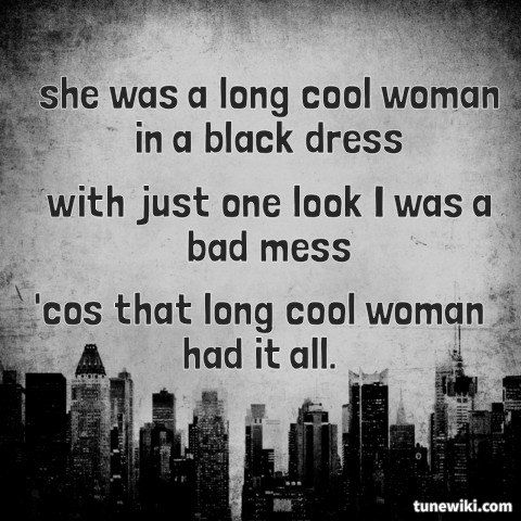 Lyricart For Long Cool Woman In A Black Dress By The Hollies