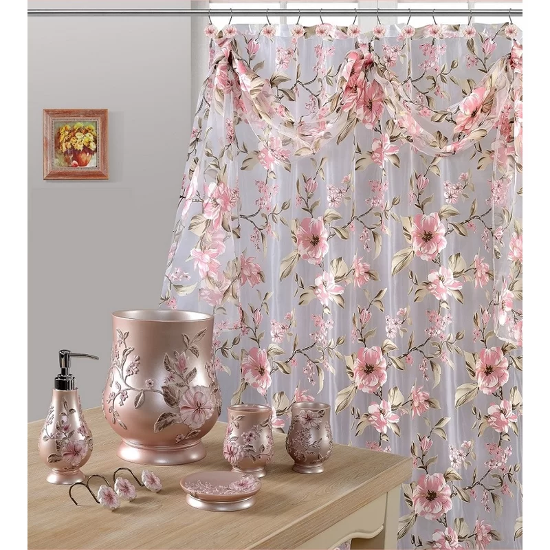 Fincher Sheer Single Shower Curtain Pink Shower Curtains Floral