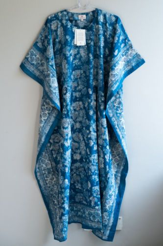 Anokhi-Long-Kaftan-Caftan-Floral-Blue-Gold-hand-printed-100-cotton-one-size