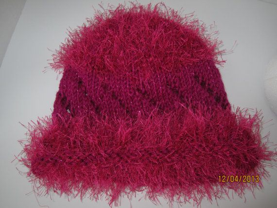 Cute winter hat, hand knitted, hot pink!