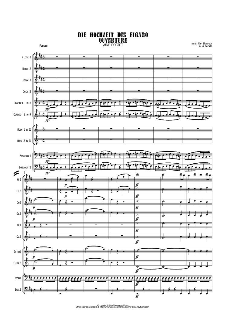 Mozart Die Hochzeit Des Figaro The Marriage Of Figaro Ouverture Overture K 492 Wind Dectet 10 Players Double Wind Quintet Of 2 Fl 2 Ob 2 Cl 2 Hn 2 Print Sheet Music Mozart Sheet Music Pdf