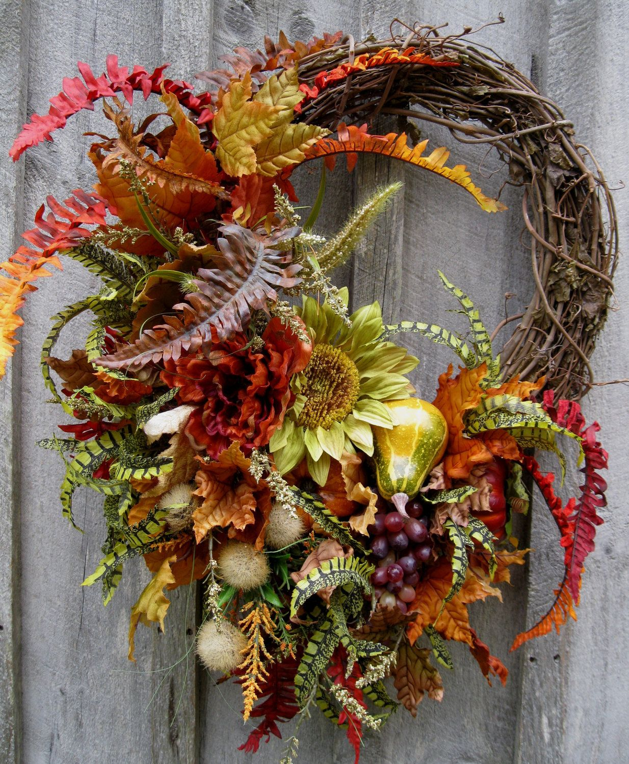 Autumn Wreath, Fall Floral, Designer Wreaths, Sunflowers, Tuscany,  Thanksgiving Wreath