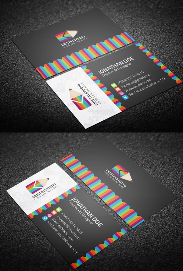 Colorful Art Business Card Businesscards Psdtemplates