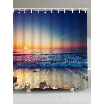 Beach Scenery Printed Shower Curtain And Rug Beach Scenery
