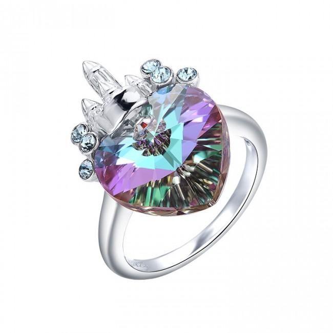 silverbene fashion purple austrian crystal 925 sterling silver castle ring