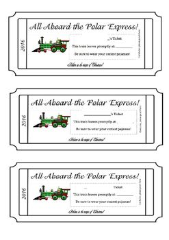 Polar Express Train Tickets Editable Polar Express Train