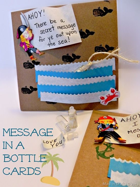 "Pirate ""Message in a Bottle"" Card (Party Invitation or Valentine) - Mad in Crafts"