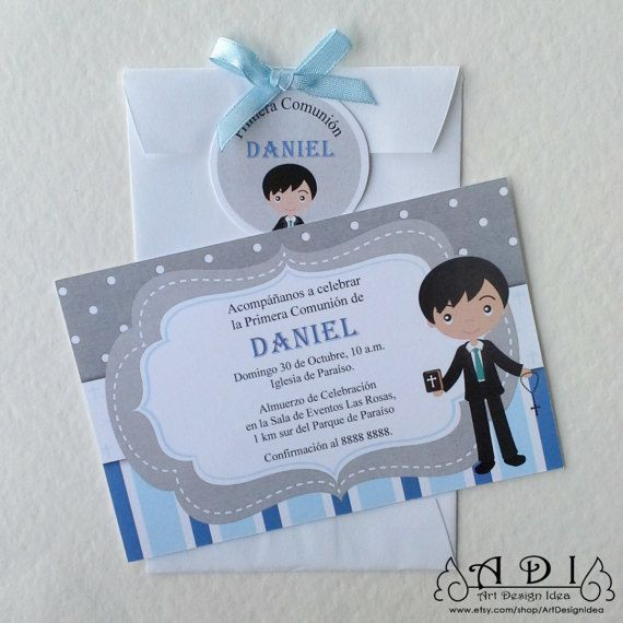 Invitacion niño primera comunion, First communion invite, Boy ...