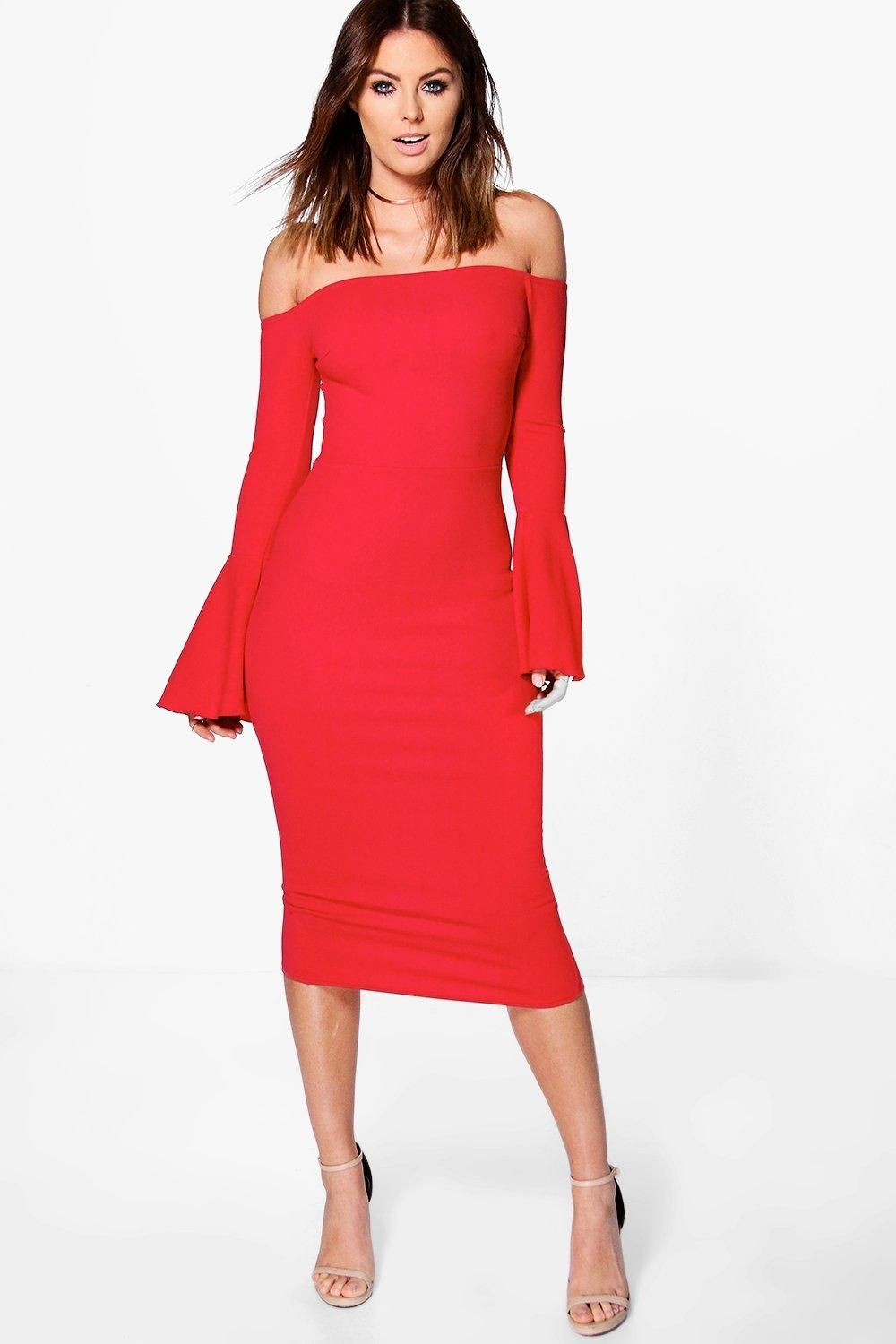 a998e9293889 Lana Off Shoulder Flared Sleeved Midi Dress