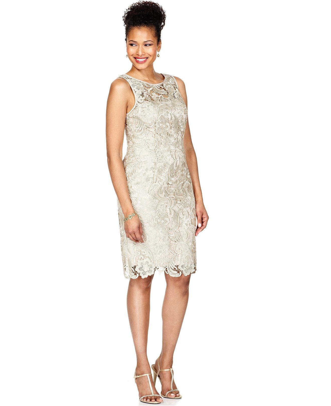 Adrianna papell lace sheath dress adrianna papell and for Macy wedding dresses mother of the bride