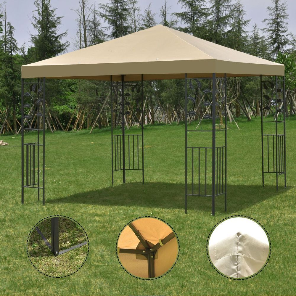 Outdoor 10 X10 Gazebo Canopy Tent Steel Frame Shelter Awning Metal Garden Patio Unbranded Canopy Outdoor Gazebo Canopy Canopy Tent