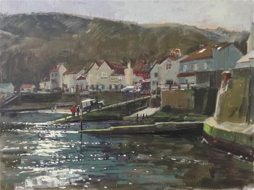 """Daily Paintworks - """"Morning light at Staithes"""" by Haidee-Jo Summers  12x16in"""