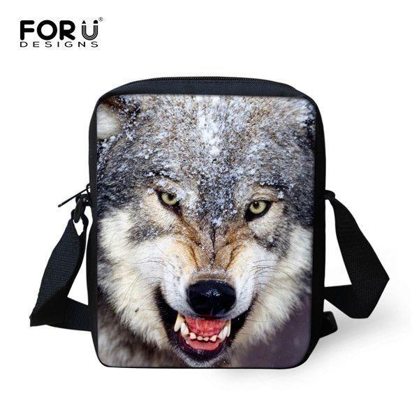 New Wolf Women Messenger Bags 3D Zoo Animal Printing ...
