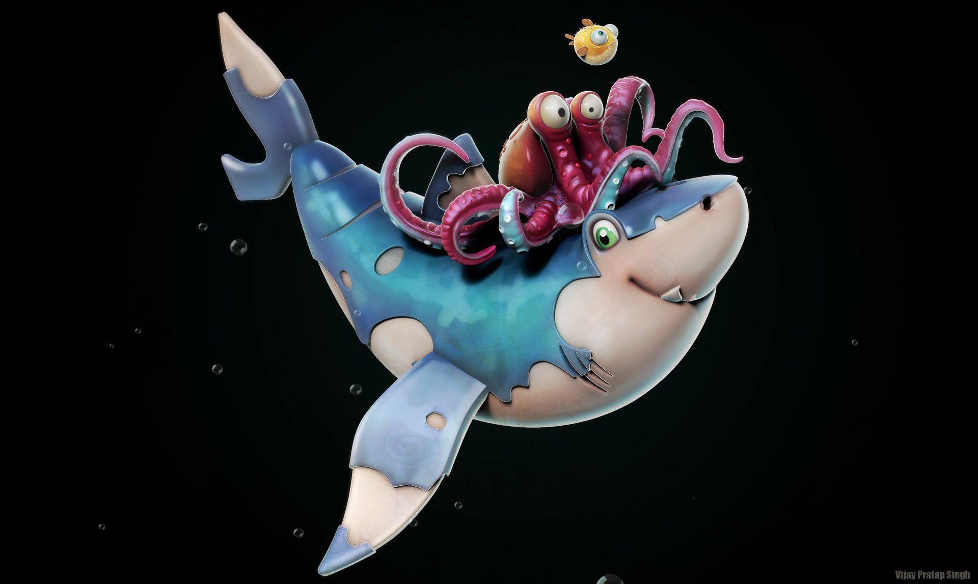 Artstation Shark Mates Vijay Pratap Singh Sketch Book Zbrush Shark