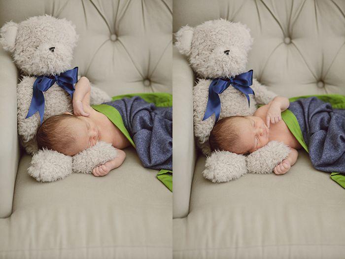 newborn portraits with teddy bear